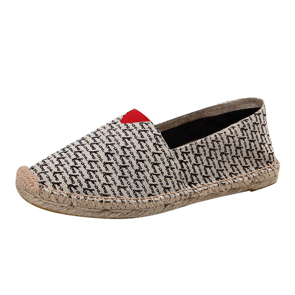 Women's Men's Casual Espadrilles Loafers Flats Shoes 2019 New Breathable Slip-on Canvas Sneaker (US:8.5, Red)