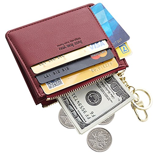(Cyanb Slim Leather Credit Card Case Holder Front Pocket Wallet Change Purse for Women Girls with keychain Wine Red)