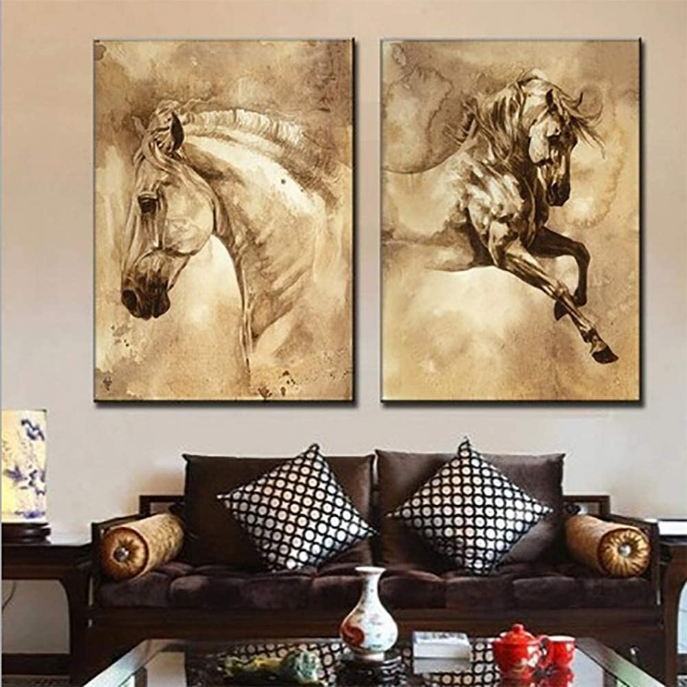 QJXX Animales Caballos Imagen 2 Piezas CuadrosEnLienzo Impermeable Print Modern Home Decoraciones Arte De La Pared para La Habitación,Noframe,40 * 60Cm*2