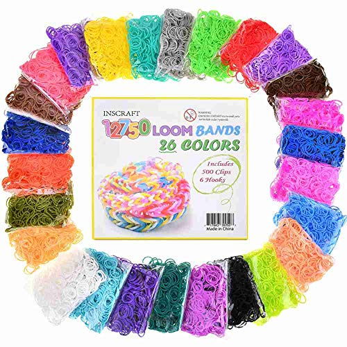 - Loom Rubber Bands, 12750pc Rubber Band Refill Kit in 26 Colors with 500 Clips 6 Hooks, INSCRAFT Loomy Bands