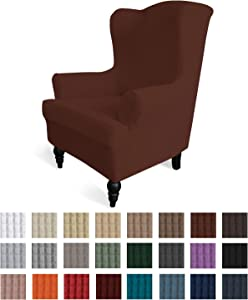 Easy-Going Stretch Wingback Chair Sofa Slipcover 1-Piece Sofa Cover Furniture Protector Couch Soft with Elastic Bottom Spandex Jacquard Fabric Small Checks(Wing Chair,Coffee)