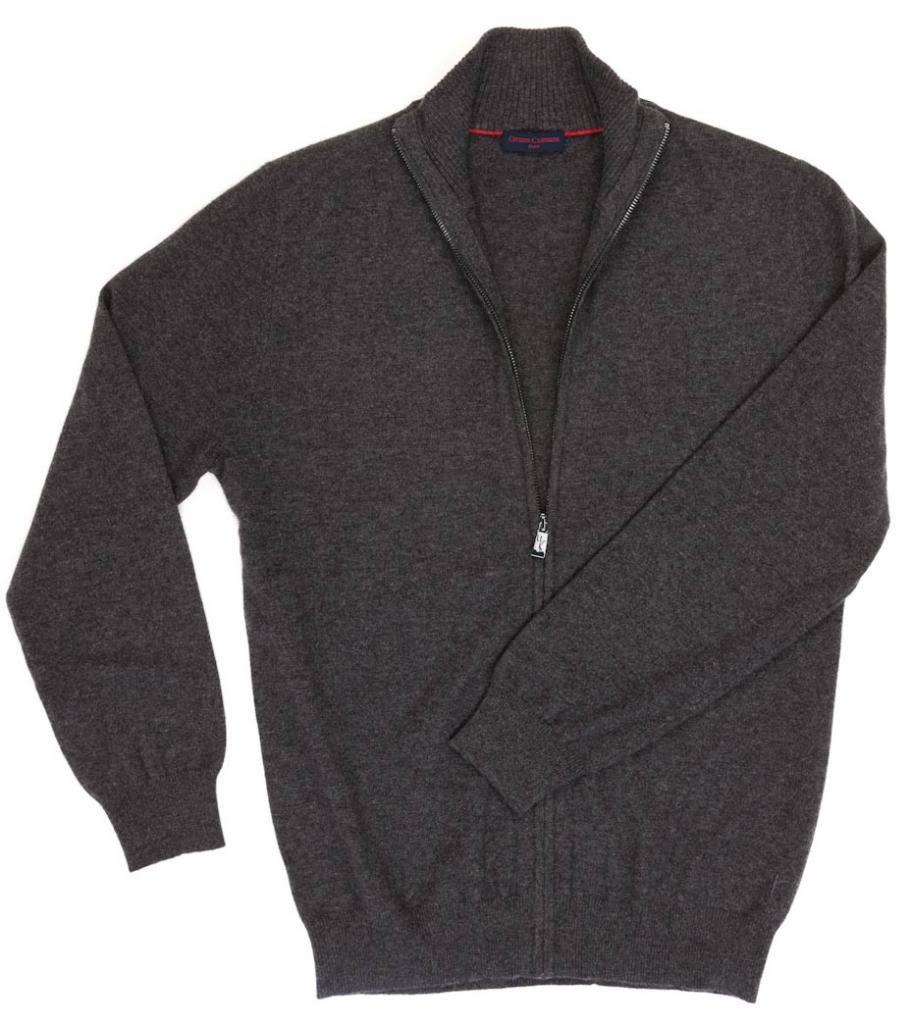 Men's Zip Cardigan - 100% Cashmere - by Citizen Cashmere, Dk Gr XL 42 103-09-04 by Citizen Cashmere (Image #5)