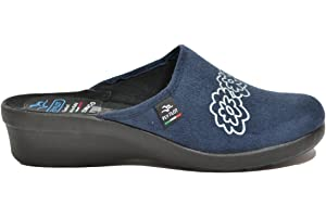 FLY FLOT L7947 WD BLU CIABATTE DONNA MADE IN ITALY SOTTOPIEDE ANATOMICO  ZEPPA 4 CM c03cec58887