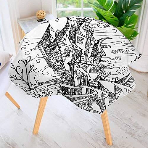 Round Premium Tablecloth for Wedding/Banquet/Restaurant-Sketchy of Like Witch Castle Halloween Themed Black and White Polyester Fabric Table Cloth 50