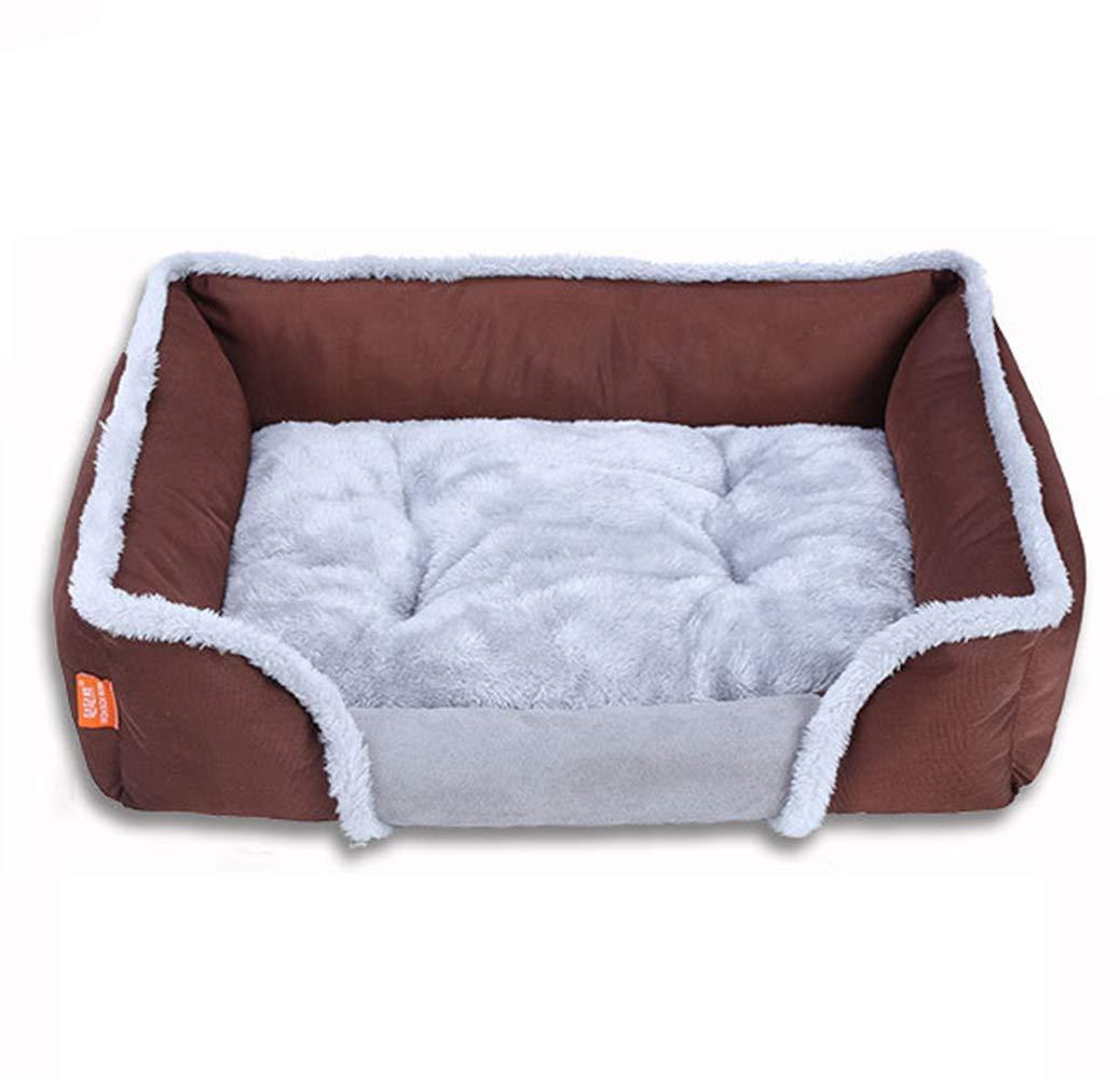 Brown Medium Brown Medium Pet Bed Pet Dog Bed Winter Warm Cotton Velvet Square Pet Nest (color   Brown, Size   Medium)