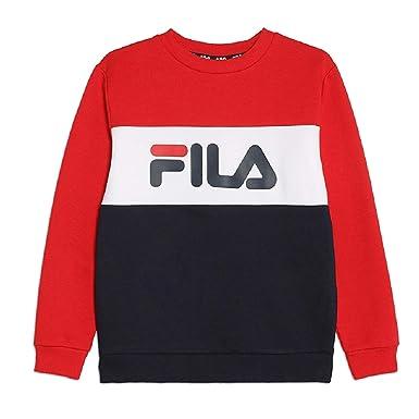 vendita calda online 2e09d 67562 Fila Block Crew Felpa Blu da Bambino 687194-G06: Amazon.it ...