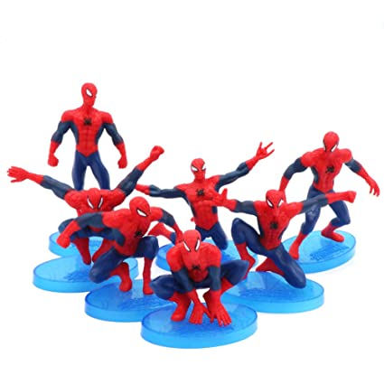 Excellent Cartoon Mini Spiderman Figures Cake Topper Solid Pvc Movie Heroes Funny Birthday Cards Online Unhofree Goldxyz
