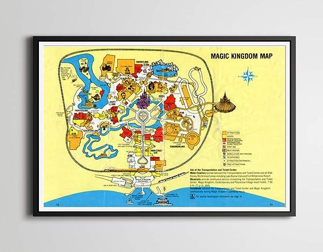 Amazon.com: Vintage 1980 DISNEY WORLD Park Map Poster! (24 x 36 or ...