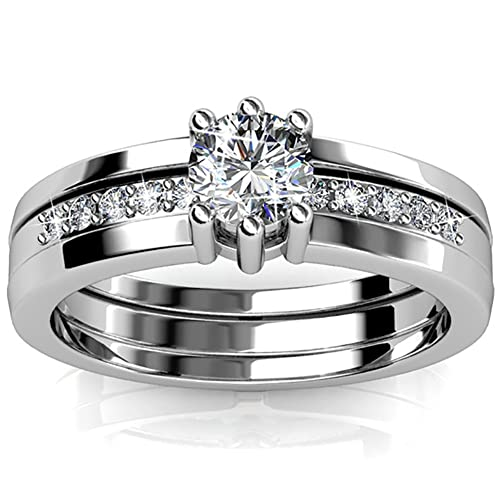 FAPPAC Set of 2 Stacking Rings Enriched with Swarovski Crystals
