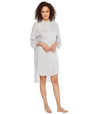 c3be7a2435 DKNY Women s Fashion 3 4 Sleeve Sleepshirt White Stripe Pajama Top at Amazon  Women s Clothing store