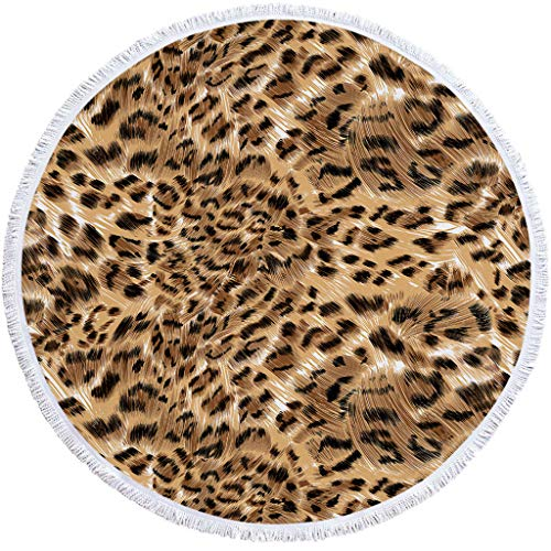 """Hisoul Leopard Series Round Beach Towel Blanket - Beach/Picnic Throw-Round Tablecloth - Multi-Purpose Home Shower Towel Blanket Yoga Mat with Tassels 59"""" (9 Patterns)"""