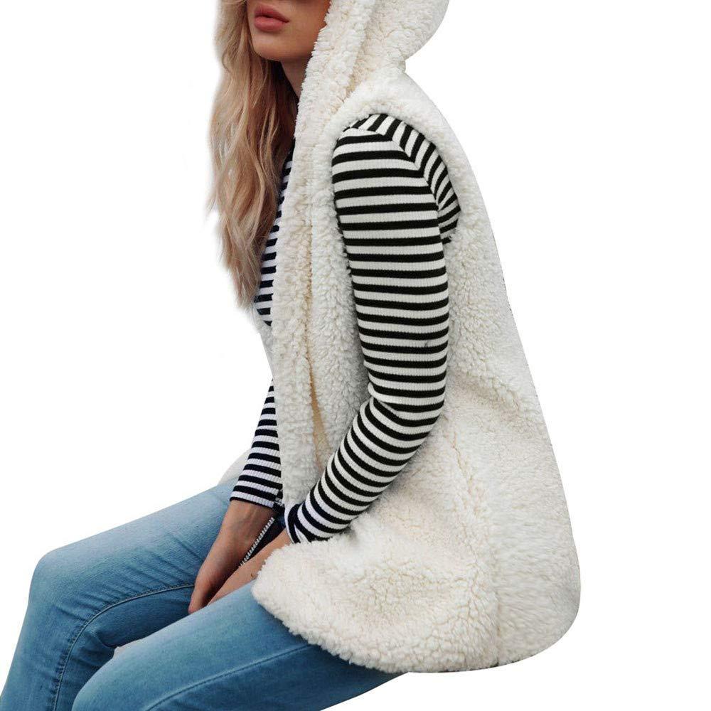 aliveGOT Womens Winter Warm Vest Casual Faux Fur Sherpa Jacket Outwear Soft Vest (XL, Beige)