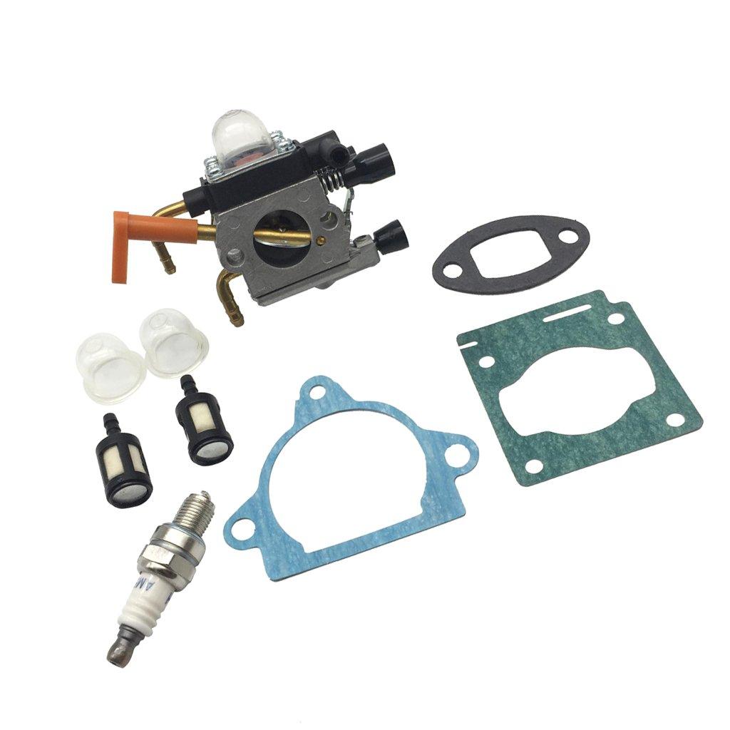 Sharplace NEw Carburetor Carb Kit for Stihl HS81 HS81R HS81T HS86 HS86R HS86T with Carburetor Gasket, Exhaust Gasket, Cylinder Gasket, Spark Plug, Primer Bulbs And Mini Filter