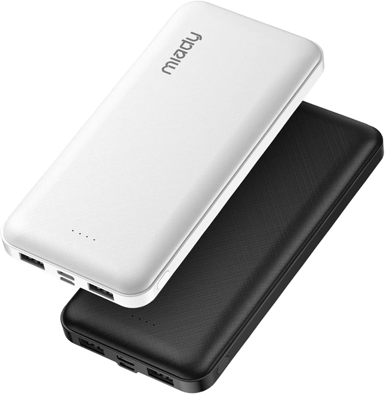 2-Pack Miady 15000mAh Portable Charger, Power Bank/w Two 5V/2A USB Output Ports and USB C Fast Input, Portable Phone Charger Compatible with iPhones, Android Smartphones and More