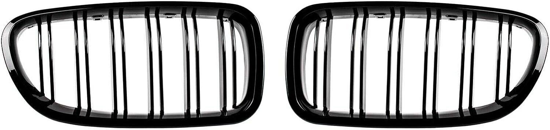 OptiumParts24 Grille de calandre double pont Noir brillant