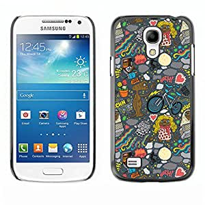 Qstar Arte & diseño plástico duro Fundas Cover Cubre Hard Case Cover para SAMSUNG Galaxy S4 mini VERSION! / i9190 / i9192 ( Wallpaper Alien Art Drawing Ufo Cartoon)