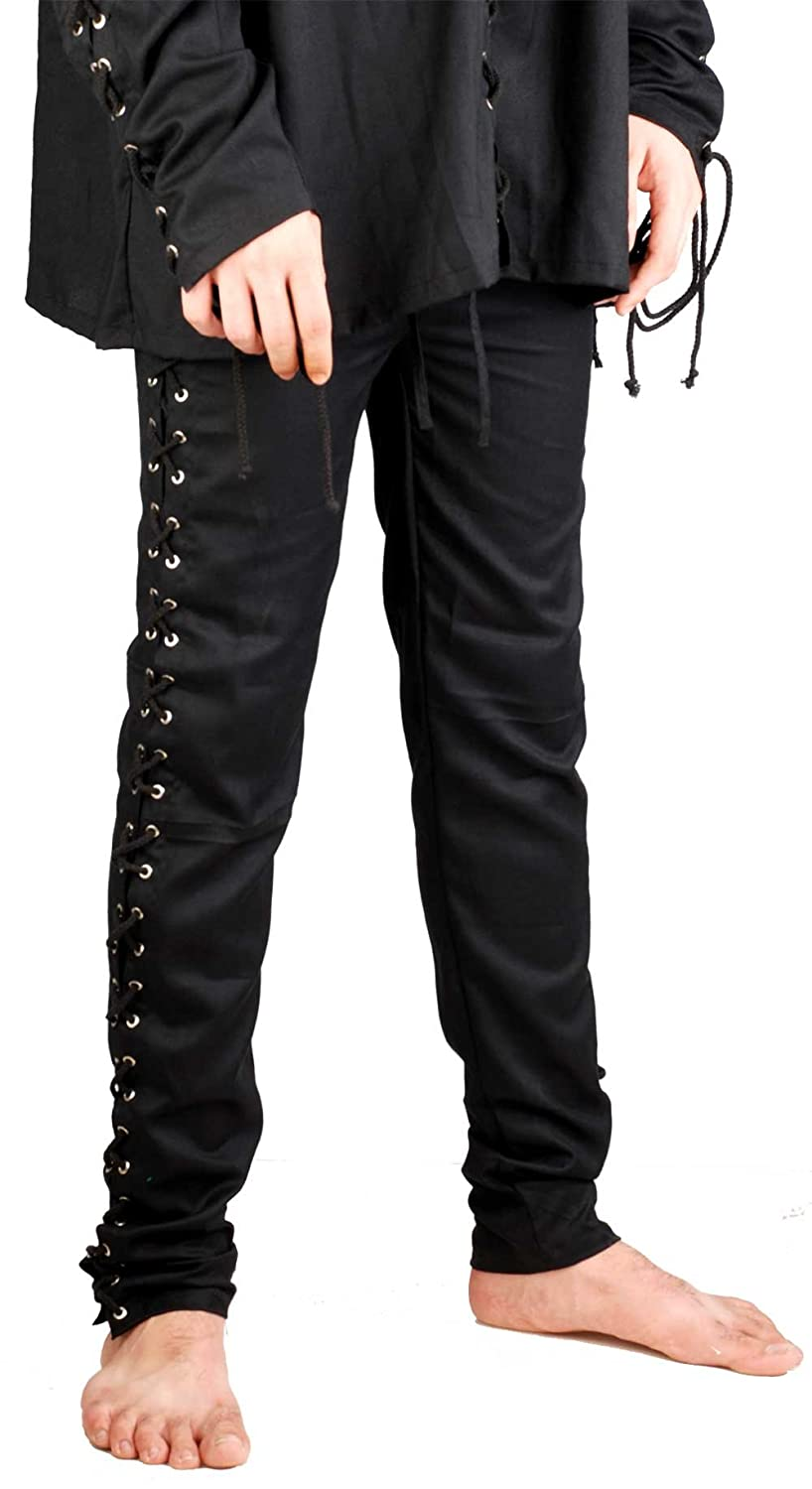 Deluxe Adult Costumes - Men's Medieval tight fitting black lace-up leg pirate pants