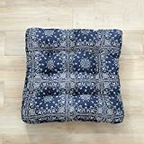TMJJ Cotton Linen Floor Pillow Cushion Japanese Futon Square Seat Cushion Thicken Chair Wave Window Pad 21'' x 21'',Ancient Blue