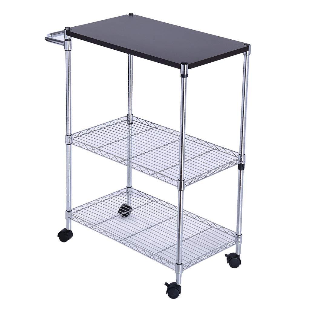 Micozy Multi-Function Wheeled Wooden Cart Steel 3-Tier Storage Rack Kitchen Supplies Rack 23.7''x13.7''x31.5''