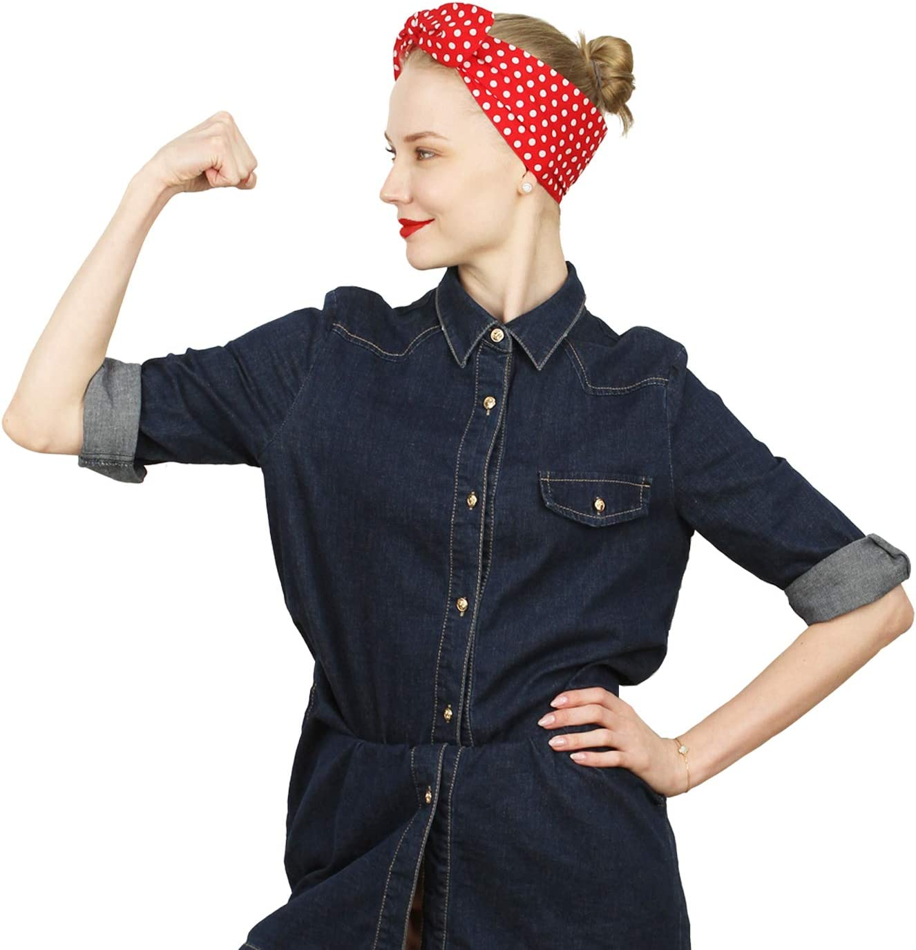 Rosie the Riveter Costume & Outfit Ideas Sea Team Bows Red with White Polka Dots Double Wide Headwrap Cotton Headband £6.99 AT vintagedancer.com