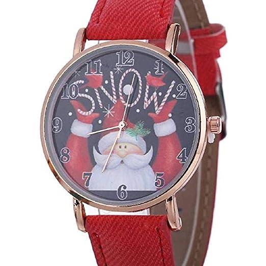 Scpink Relojes de Cuarzo para Mujer Navidad Santa Claus Analog Clearance Lady Relojes Relojes para Mujeres, Esfera Redonda Caso cómodo Reloj de Lona (Rojo): ...