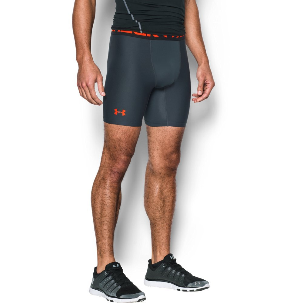 Under Armour mens HeatGear Armour 2.0 6-inch Compression Shorts, Stealth Gray (008)/Phoenix Fire, Small
