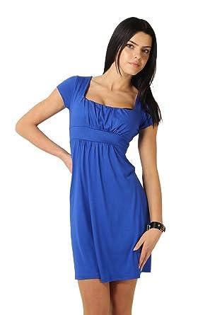 5816f3744c0 FUTURO FASHION Élégant Femmes Mini Robe Empire Manche Courte Carré Col  8944  Amazon.fr  Vêtements et accessoires