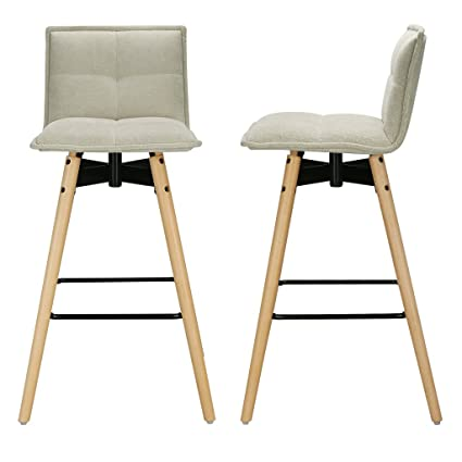 LANGRIA Modern Mid Century Tall Tufted Polyester Bar Stool with Seat
