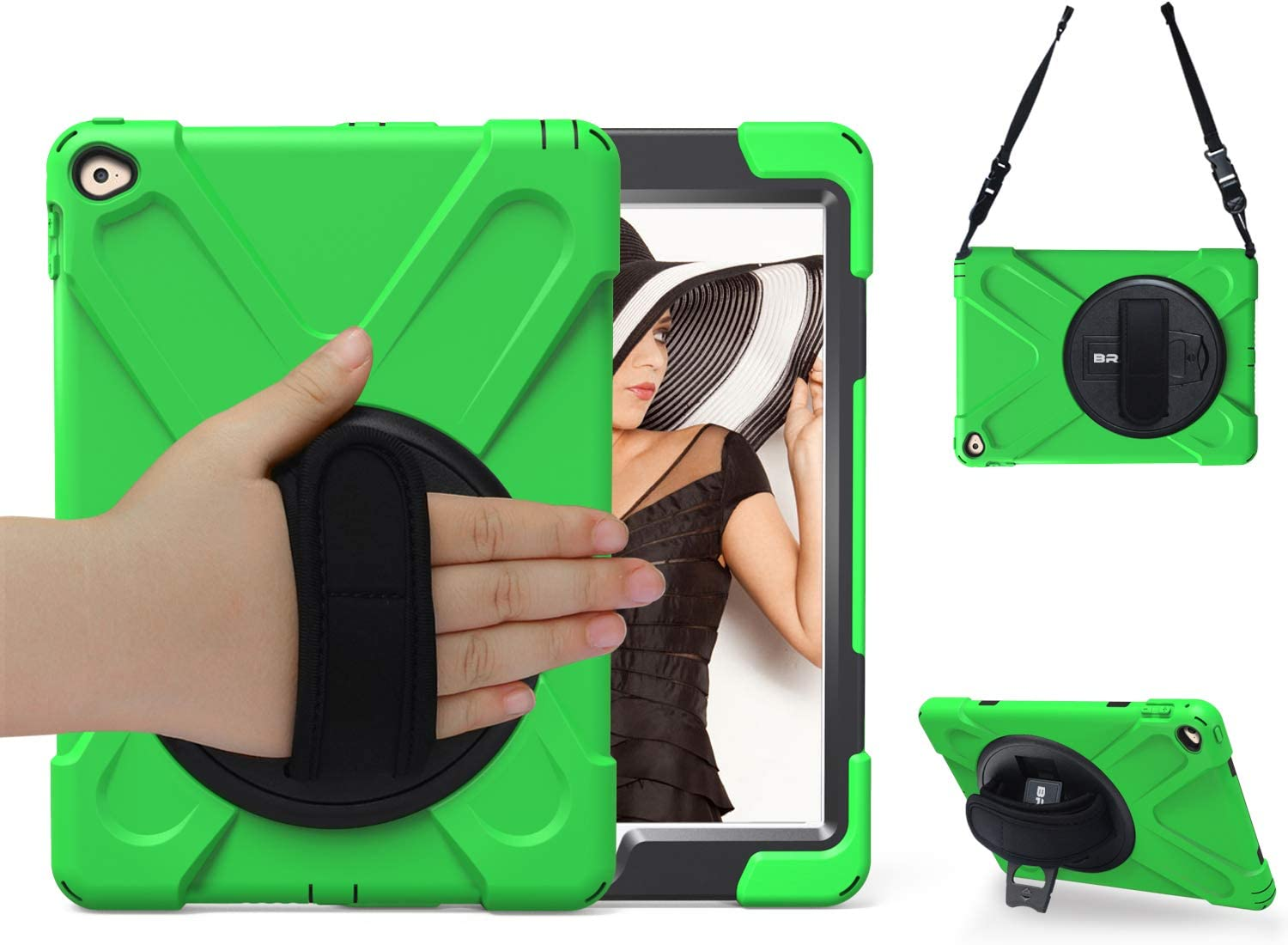 BRAECN iPad Air 2 Case for Apple iPad Air 2 Case [2nd Generation] 2014 Release Full-Body Rugged Hybrid Protective Case Cover with Kickstand/Hand Strap/Adjustable Shoulder Strap (Green)