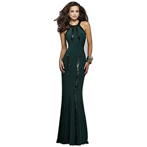 New Ladies Dark Green & Black Sequin Evening Dress Long Dress Cruise Prom Cocktail Wear Dress