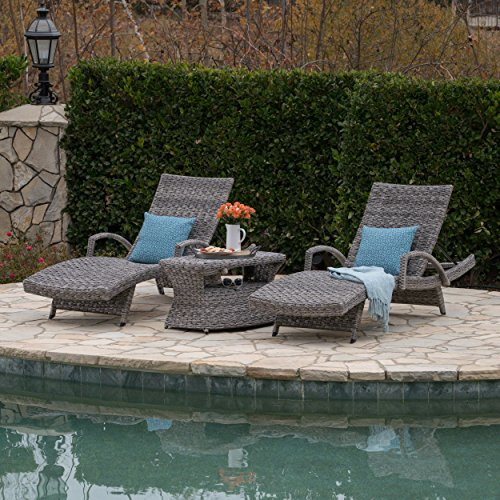 Keira Outdoor 3 Piece Grey Wicker Armed Chaise Lounges with Grey Wicker Rectangular Side Table