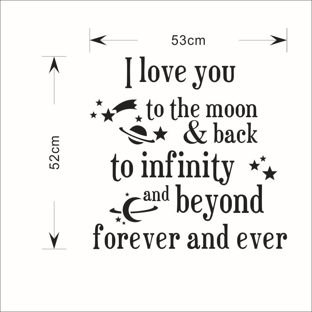 Fange DIY Removable I Love You to the Moon Back to Infinity Love Quotes Art Mural Vinyl Waterproof Wall Stickers Bed Kids Room Decor Livingroom Nursery Decal Sticker Wallpaper 20.9''x20.7'' by Fange (Image #5)