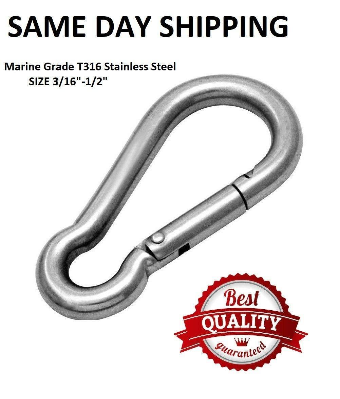 T316 Stainless Steel Carabiner Clip Snap Hook Spring Karabiner Carabina Carbine (10, 1/2'')