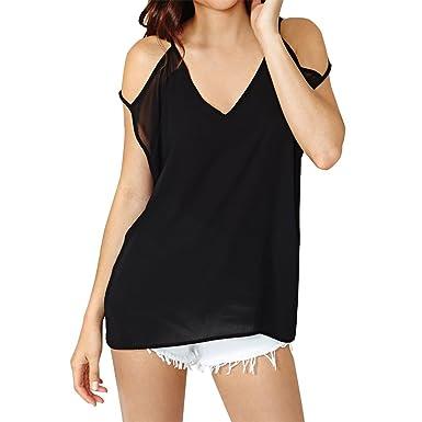 E.JAN1ST Women s Cut Out Shoulder Tops Summer Loose Solid Deep V Neck Top  Shirt 9686ccd86