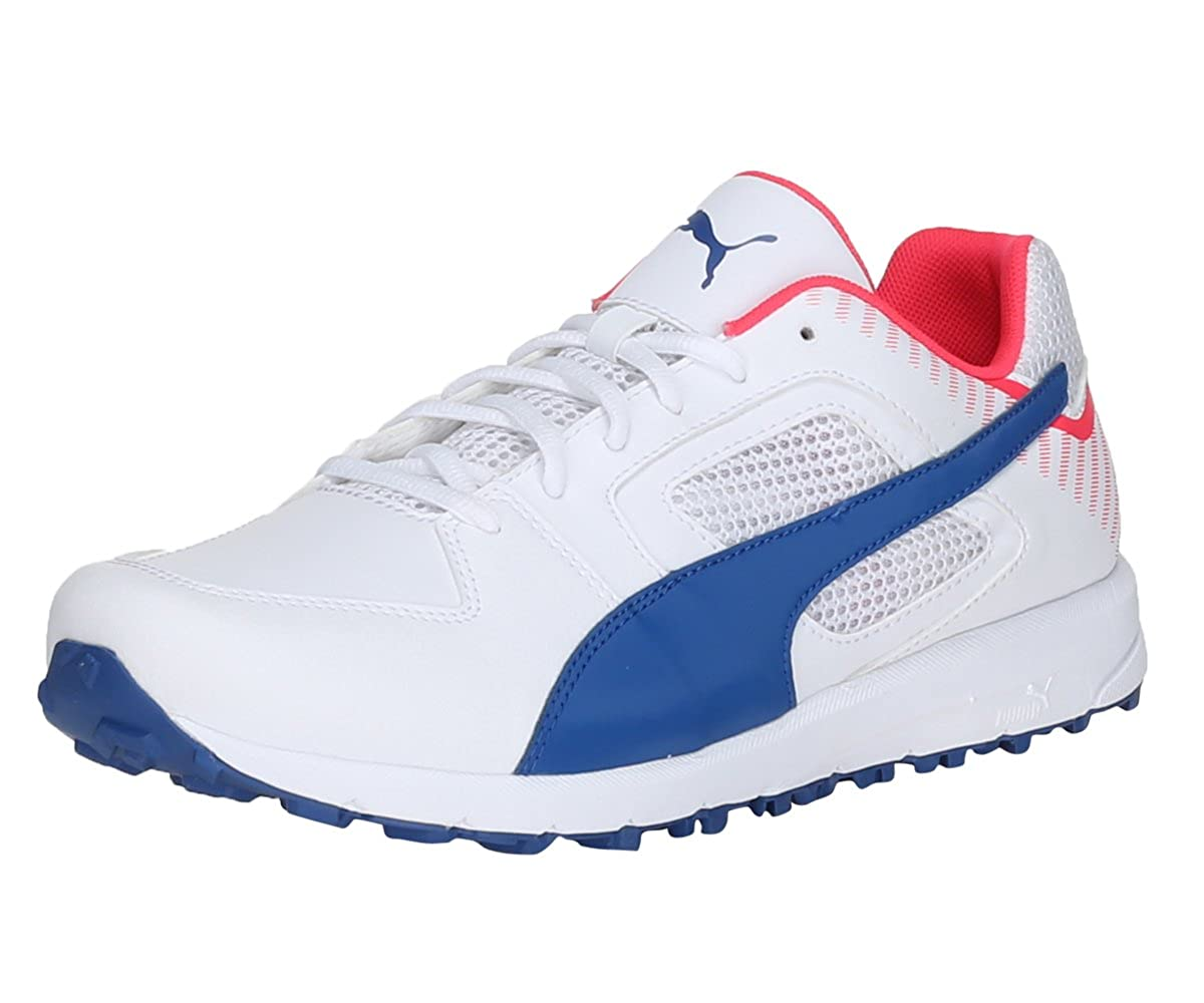7cc1c8596d5 Men team full spike white true blue and bright plasma cricket shoes uk india  eu buy