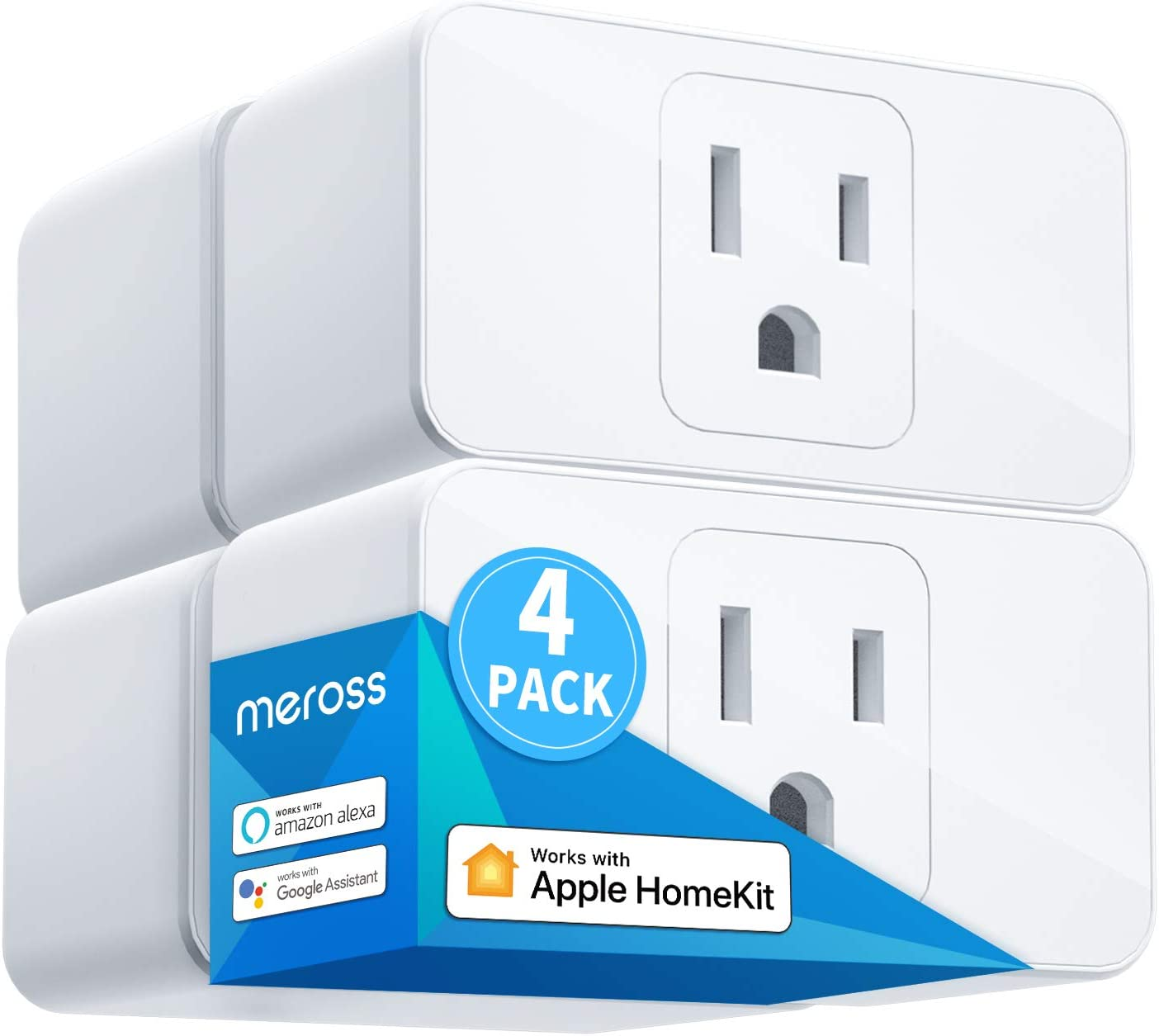 Meross Smart Plug Mini, 16A & Reliable WiFi, Support Apple HomeKit, Siri, Alexa, Echo, Google Assistant, Nest Hub and SmartThings, App Control, Timer, No Hub Needed, 4 Pack