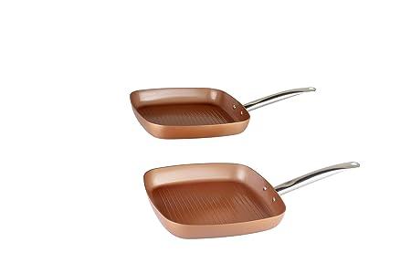 XSQUO Useful Tech SARTEN Y Plancha Grill DE 28cm. Apta para INDUCCIÓN. Vital Copper Gourmet Tools: Amazon.es: Hogar