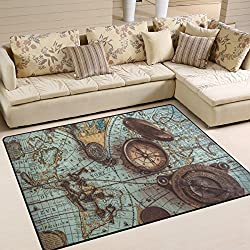 ALAZA Antique Pirate Compass World Map Area Rug Rugs for Living Room Bedroom 7' x 5'
