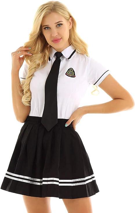 Agoky Uniforme de Colegiala Japones para Chica Mujer Cosplay Traje High School Disfraz de Escolar Camisa Blanca con Falda Plisada para Halloween: Amazon.es: Ropa y accesorios