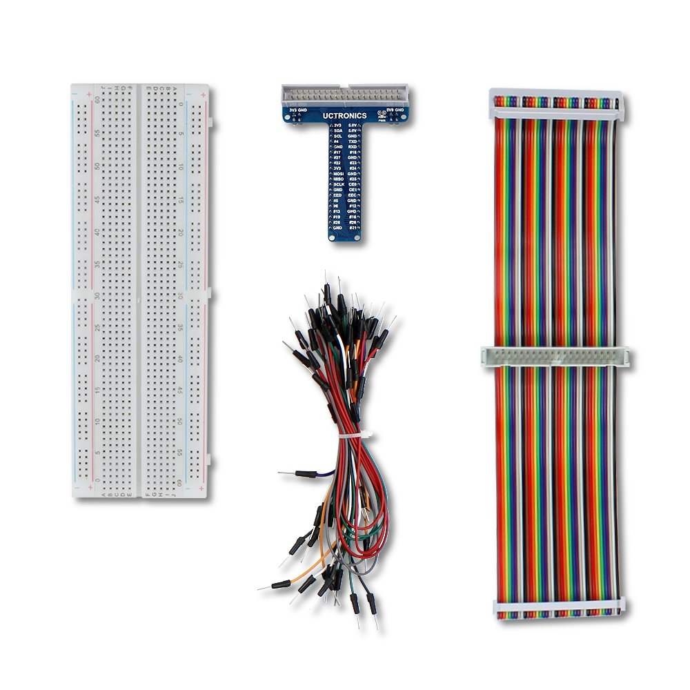 UCTRONICS GPIO Breakout Kit for Raspberry Pi 40 Pin Male Male Rainbow Ribbon Cable Assembled Pi T- Type Breakout Female 65pcs Jump Wires 830 Tie Points Solderless Breadboard