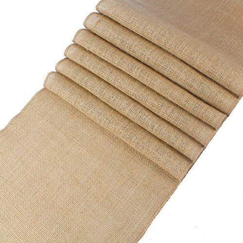 mds Pack of 10 Wedding 12 x 108 inch Burlap Table Runner Natural Jute Country Vintage for Wedding Banquet Decoration - Natural Jute Burlap -