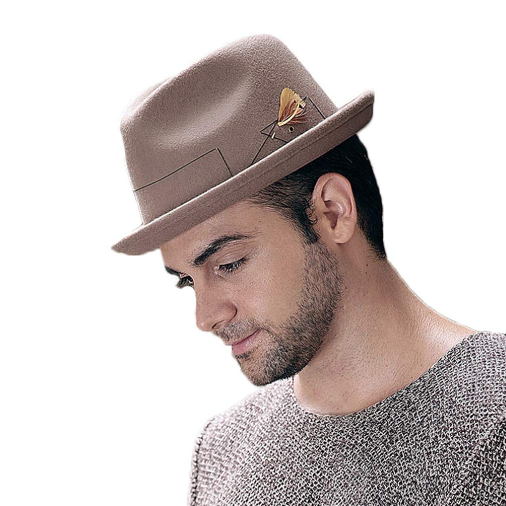 Mens Casual Vintage Style Jazz Hat Winter Wool Fedora Feather Decoration Hat