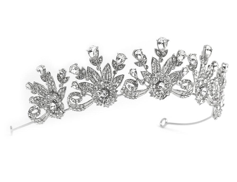 USABride Royal Tiara for Brides, Bridal Rhinestone Crown Wedding Princess Silver Tone Royalty Headpiece 3270