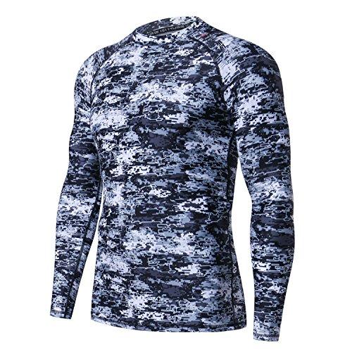 (HUGE SPORTS Men's Splice UV Sun Protection UPF 50+ Skins Rash Guard Long Sleeves (Pixel Light, L))