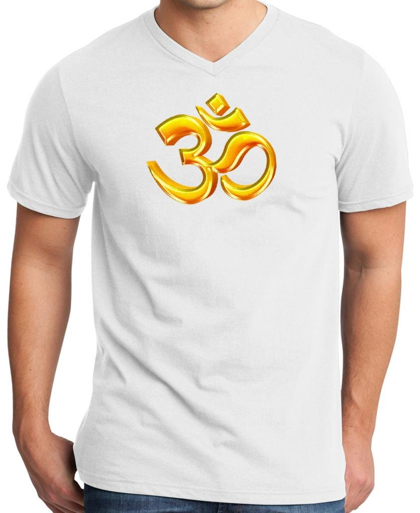 Yoga Clothing For You Mens 3D OM 100% Cotton V-Neck Black Tee 3DOM-DT6500