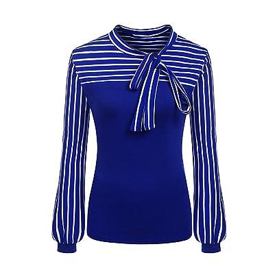 Luckycat Camisa de Manga Larga a Rayas con Cuello Alto y Lazo de Mujer (Azul