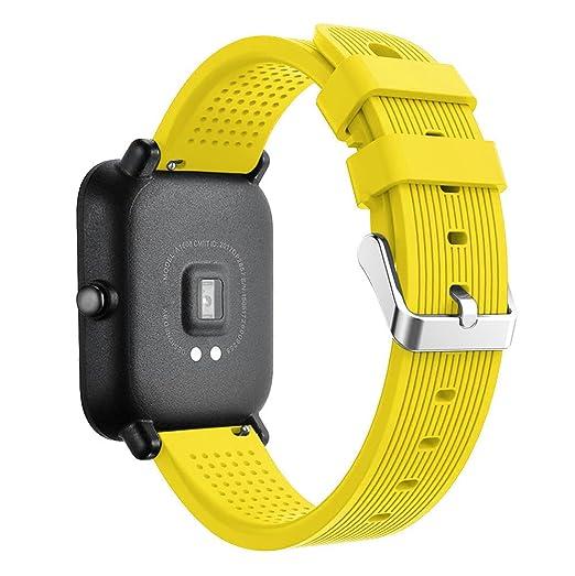 JiaMeng Light Original Correa de muñeca de Silicona del Deporte Wristband Pulsera de Repuesto Reloj de Huami Amazfit Bip(Amarillo): Amazon.es: Ropa y ...