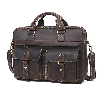 617596809f21 Amazon.com  Men s Premium Leather Briefcase Vintage Handcrafted 15.6 Inch  Laptop Bag  Computers   Accessories