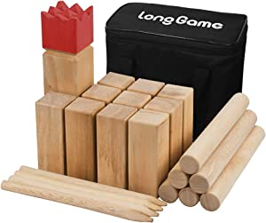 Outdoor Kubb Yard Game for Kids and Adults Hardwood Knot-Free Wooden Family Backyard Giant Lawn Games Set with Carrying Bag