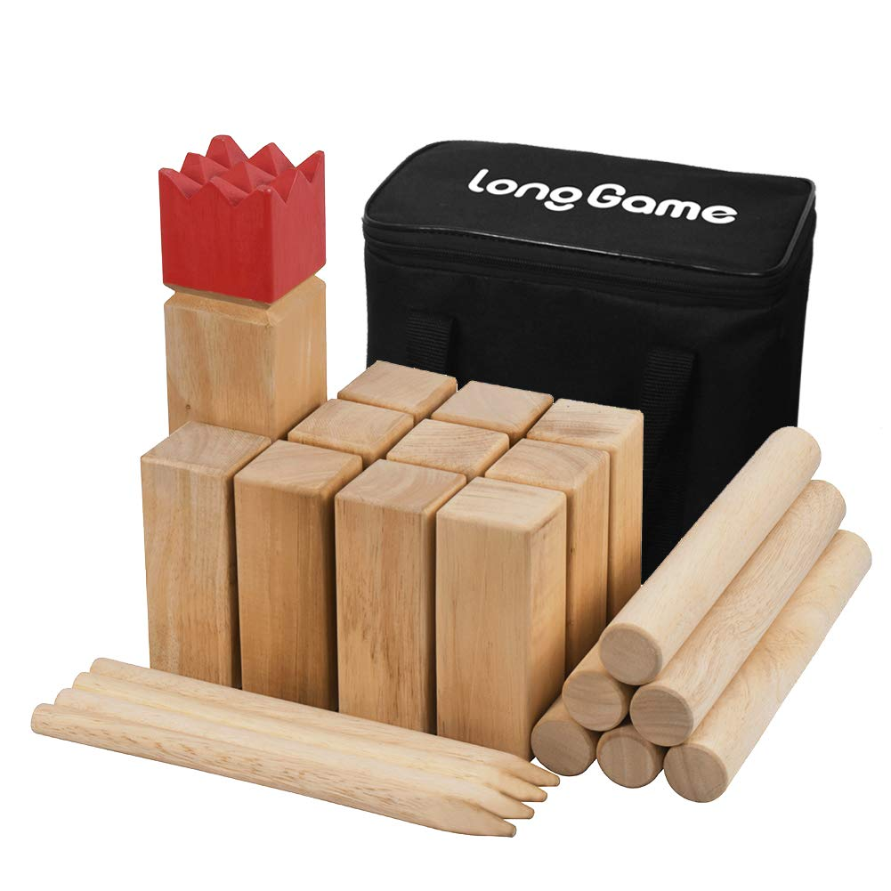 Premium Hardwood Backyard Kubb Game Knot-Free Wooden Family Outdoor Giant Lawn Games Set with Carrying Bag